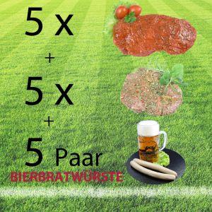 Grillpaket - Fußball: mit Rindersteaks, saftigen Kammsteaks vom Schwein und Bierbratwürste aus der Weltrekordgemeinde